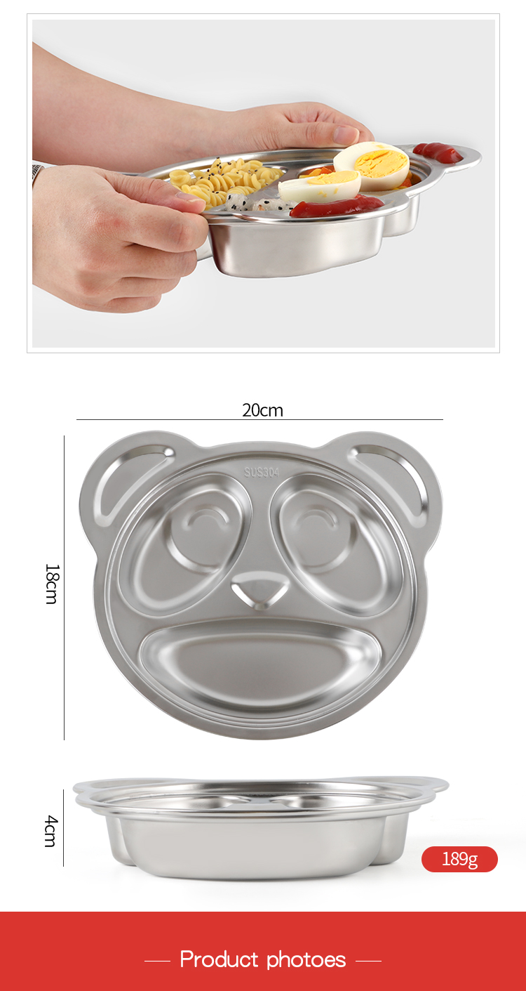 Factory wholesale high quality eco friendly durable reusable cartoon panda shape plate stainless steel dinner plates for kids