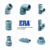 ERA PN10 PN16 PVC RUBBRER RING FITTINGS TWO FAUCET ONE FLANGE EQUAL TEE