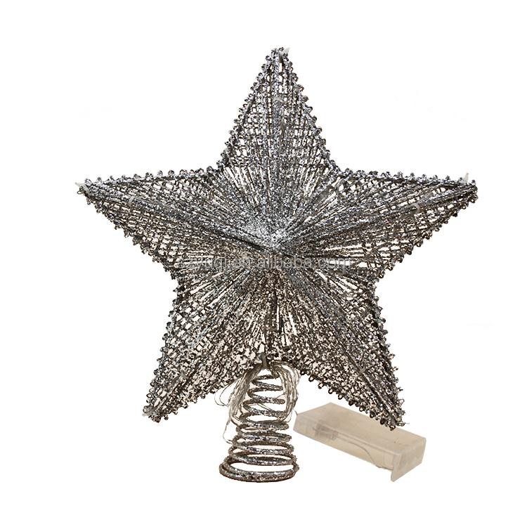 New product ideas 2019 led metal christmas star tree topper for christmas tree decoration