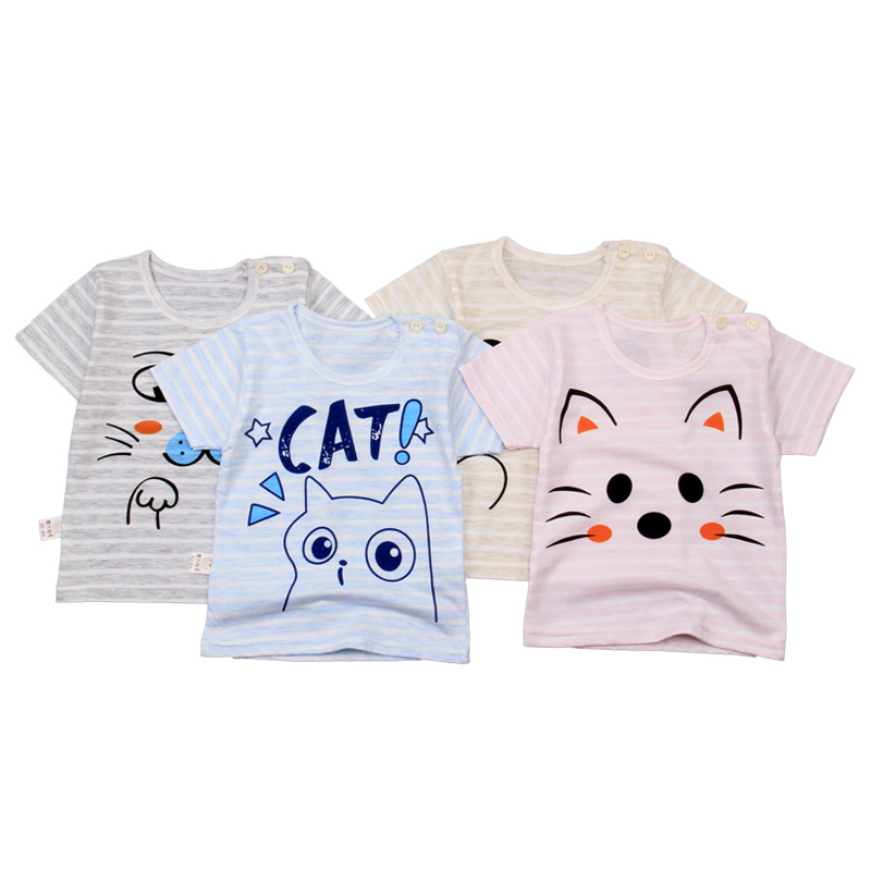 Hot selling baby's 100% organic cotton baby clothes in summer 2020, cartoon o-neck short sleeve top of 0-3 years old