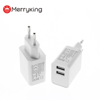 100-240v input ac to dc portable USB charger EU plug 5V 2A 2.1A 2.5A wall power adapter for router