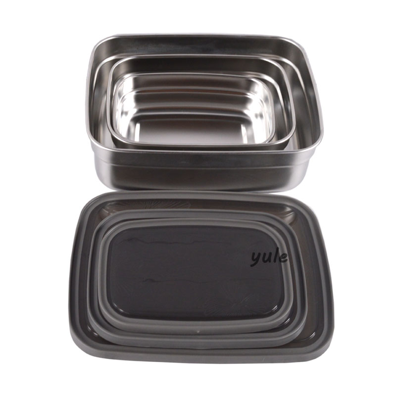 Besting selling With PP lid Stainless Steel Nesting Rectangle lunch box for Food container