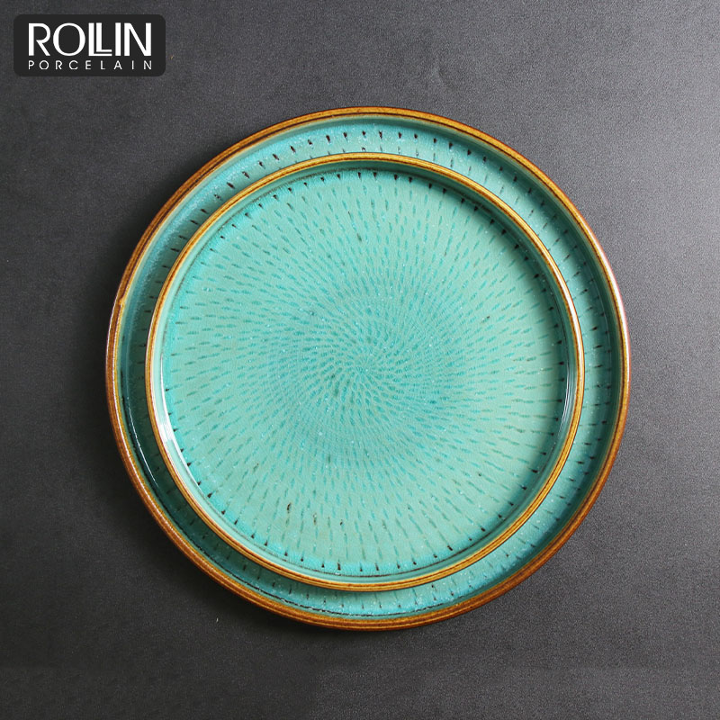 Cheap Restaurant Dinner Blue Color Glazed Hotel Dish Porcelain Plate