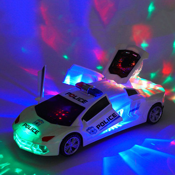 1-2 Children's music electric rotary universal police car colorful lights toy car