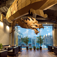 custom paper dragon shaped shopping mall hanging atrium decoration