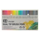 Multi colors for set of 12 24 36 48 60 100 120watercolors brush pens with dual tip packed in gift box use for drawing