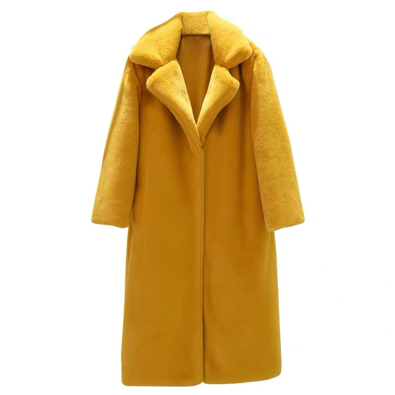 2019 New Winter Fashion Warm Long Imitation Artificial Rabbit Fur Coat Women Faux Fur Coat Long