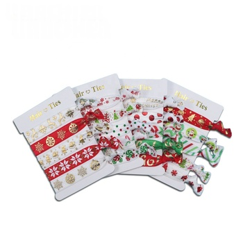 Factory wholesale printed customized elastic ponytail hair ties christmas bracelet