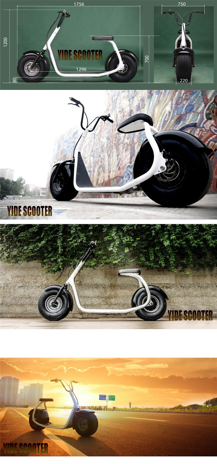 New Design Citycoco 3000W 63V EEC/COC Electric Scooter