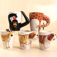 wholesale 3D animal ceramic cup personalized painting novelty ceramic mugs LOGO gift customization