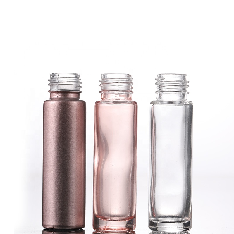 Essential Oil Use 10ml Pink Roll On Glass Roller <strong>Bottle</strong> With Crystal Gemstone Roller Ball And Rose Gold Cap