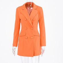Женское платье-блейзер newia, Осеннее двубортное платье с карманами, оранжевого цвета, 2019(Китай)