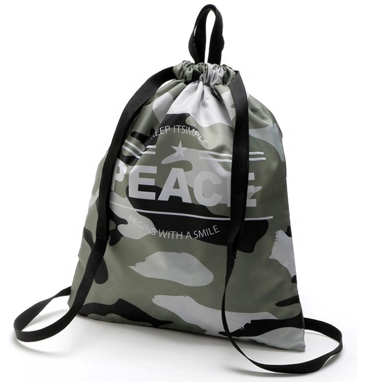 Sopurrrdy Outdoor Sport School Polyester Camouflage Drawstring Tote Bags