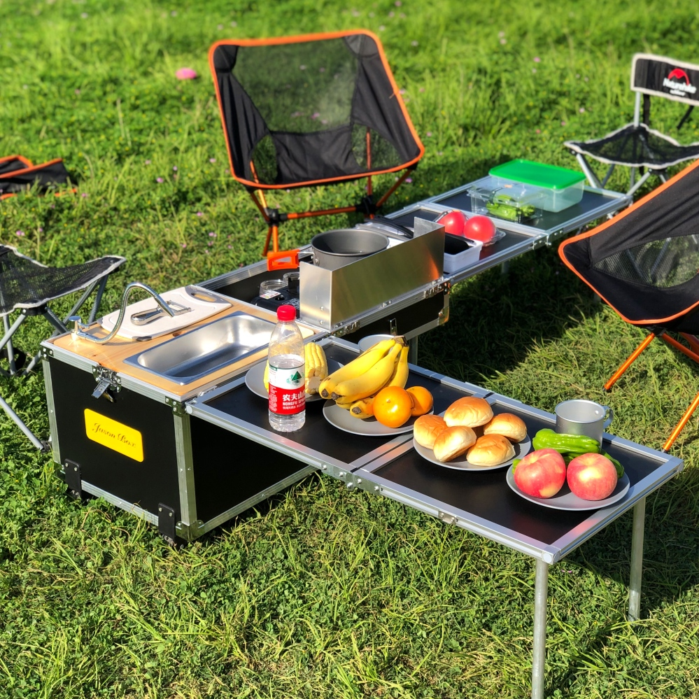 JIMEI Outdoor kitchen storage box camping table Outdoor kitchen table multi-functional storage box