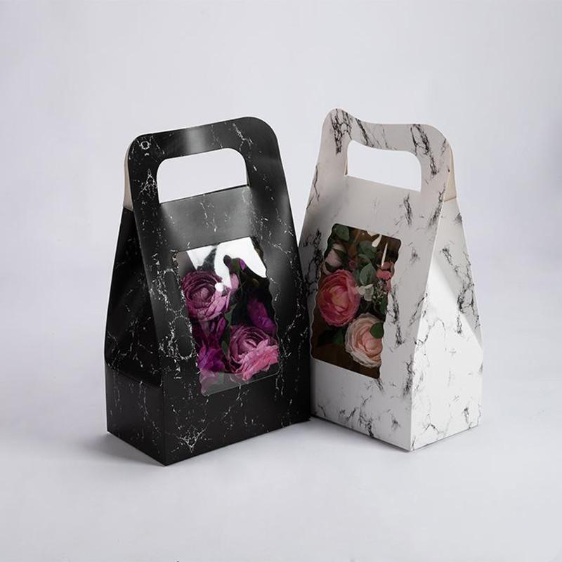 Wholesale Pvc Jendela Bunga Membawa Tas Marmer Gaya Tas Kertas Kraft Kotak Bunga Dengan Pegangan Buket Bunga Dekorasi Pesta Buy Kustom Desain Baru Bentuk Karton Kotak Hadiah Dengan Pita Kotak Tampilan