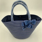 Hand Made Hot Selling New Fashion Hand Made Bow Stripe Wheat Straw Bag