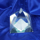 Laser Engraved 3D Glass Crafts Crystal Pyramid Paperweight