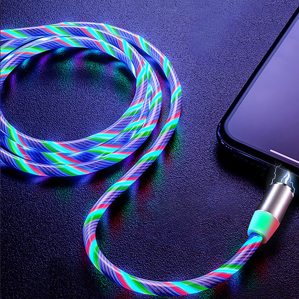 Amazon LED Glow Flowing magnetic Charger usb cable Type C Micro USB C 8 Pin 3 in 1 Magnetic Led Cable for iphone