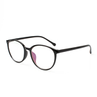 Black pc plastic frames round optical eye glasses