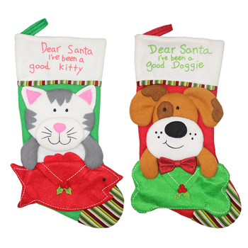 Fabric Red Xmas Christmas Cute Knit Stockings