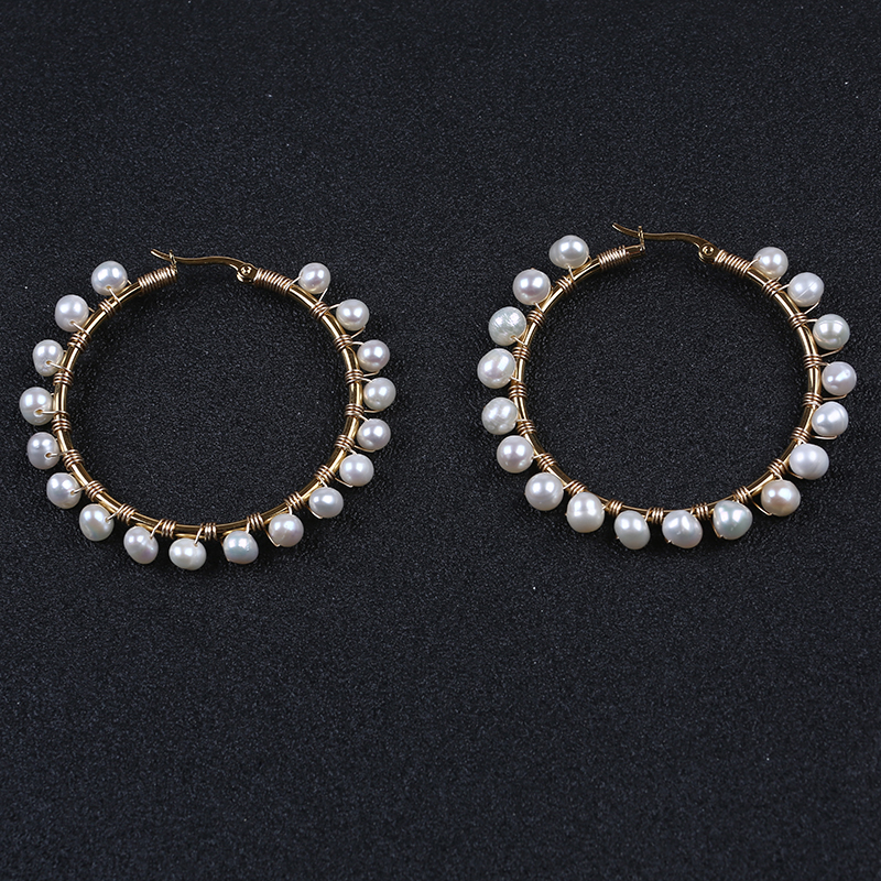 Handmade real freshwater pearl covered big hoop earrings