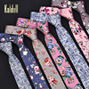 Men Floral Print Tie Suit Skinny Ties Slim Cotton Neck Tie Necktie for Wedding Christmas Party