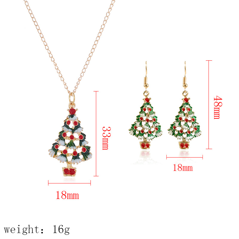 Fashion zinc alloy Christmas gift jewelry colorful Christmas tree necklace and earrings jewelry set for 2020 new year