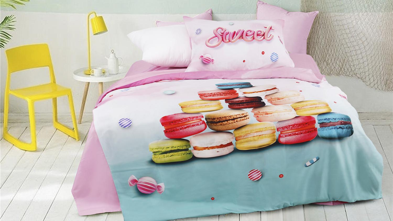 Projeto engraçado macaroon 3d digital impresso conjunto de cama capa de edredão