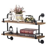Industrial Floating Shelves 2 Tier Iron Pipe Wood Wall Shelves for Bathroom Kitchen Office Rustic Farmhouse Decor Dark Brown