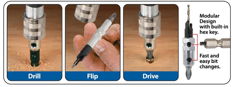 11Pcs Multi Function Quick Flip Driver Wood Countersink Drill Bits Screwdriver Bits Set in Double Blister
