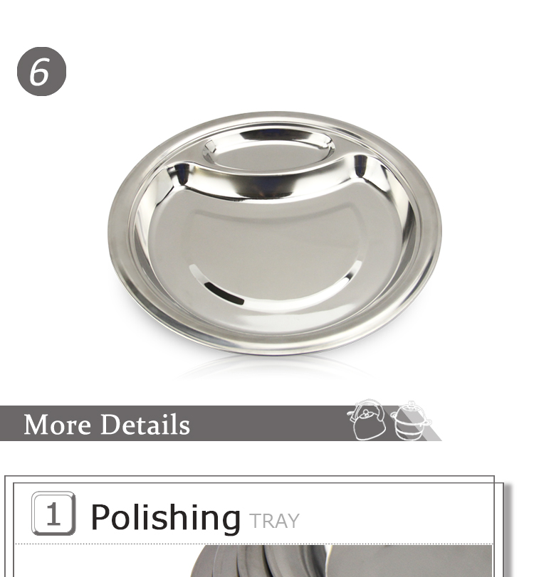 Stainless steel 2-compartment plate HC-00804