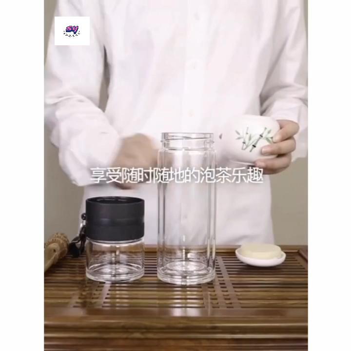 Portatile di Vetro A Doppia Parete Bottiglia di Tè Tè Separazione Infusore Bicchiere di Vetro Con Filtri In Acciaio Inox