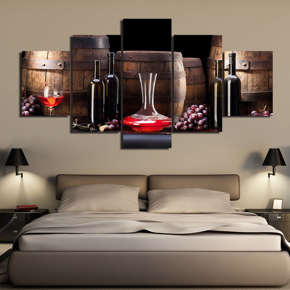 Decorative Painting 5 Piece HD Printed red wine food grapes Painting Canvas Print kitchen wal livingroom painting