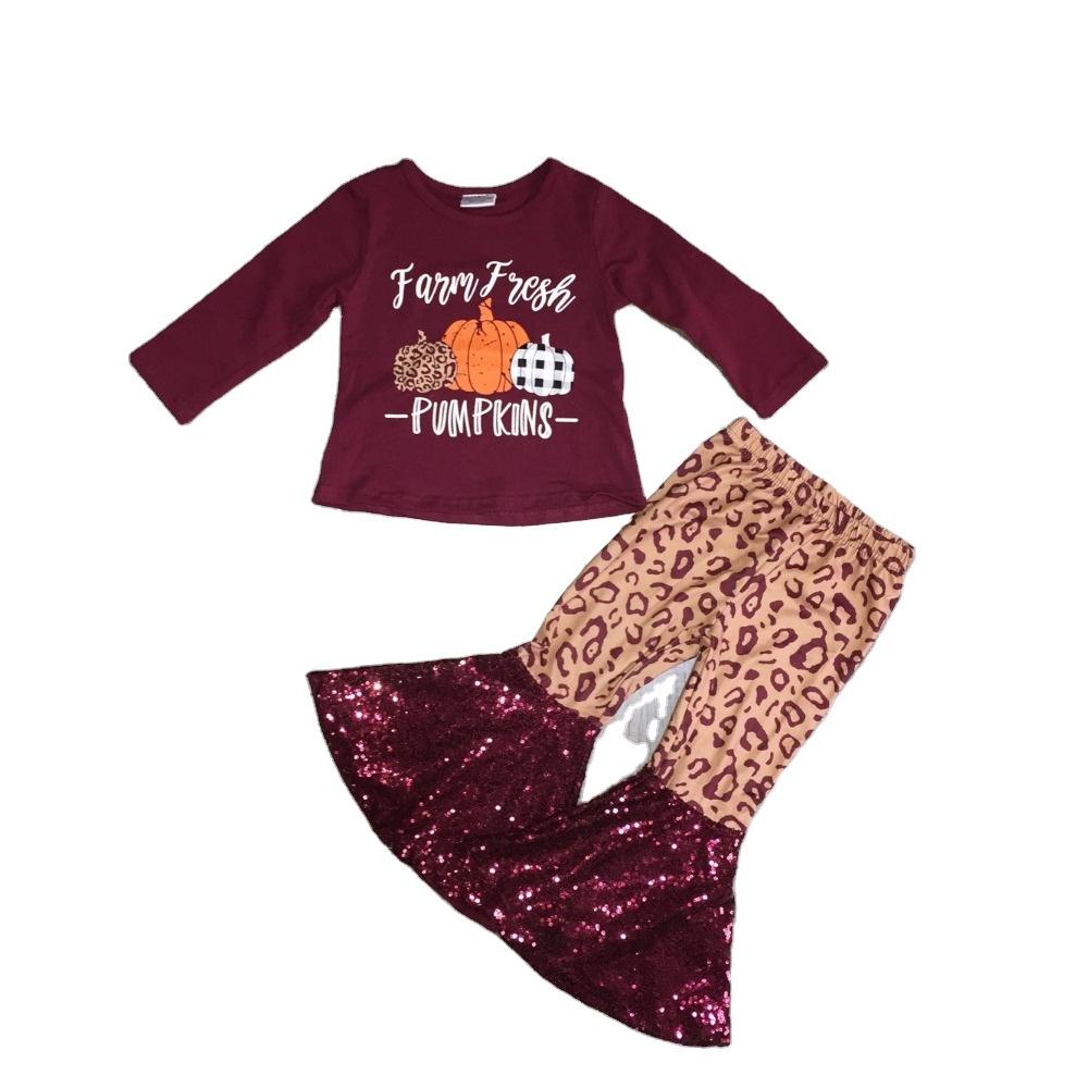 ハロウィン子供ブティック服フリル刺繍カボチャパターンドレスストライプパンツブティック服セット