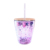 Glitter Plastic Double Wall Insulated Tumbler With Lid and Straw cups