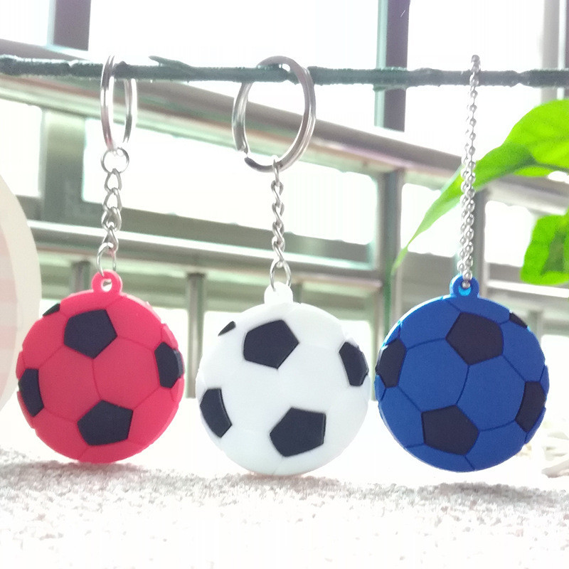 Cheap Silica Gel Colorful Embossed double-sided Stereo Pendant Football Team PVC Soft Plastic Keychain