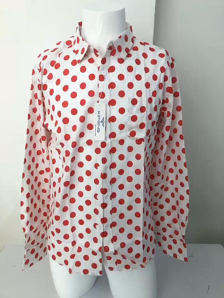 卸売コットンシャツポルカドットプリント長袖折り襟カジュアルシャツ男性用