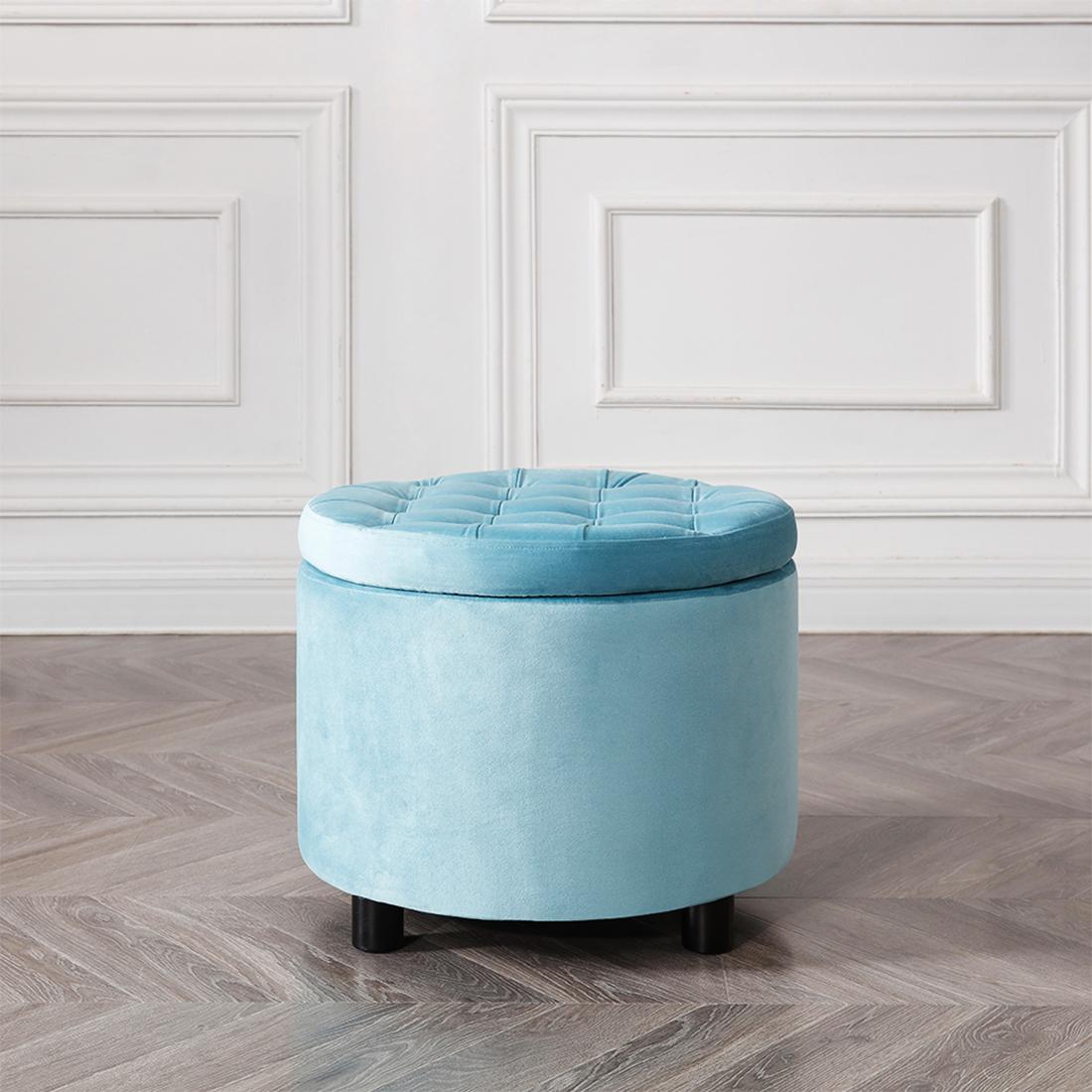 Reatai modern round velvet foot stool storage chair bedroom ottoman stool sofa with storage