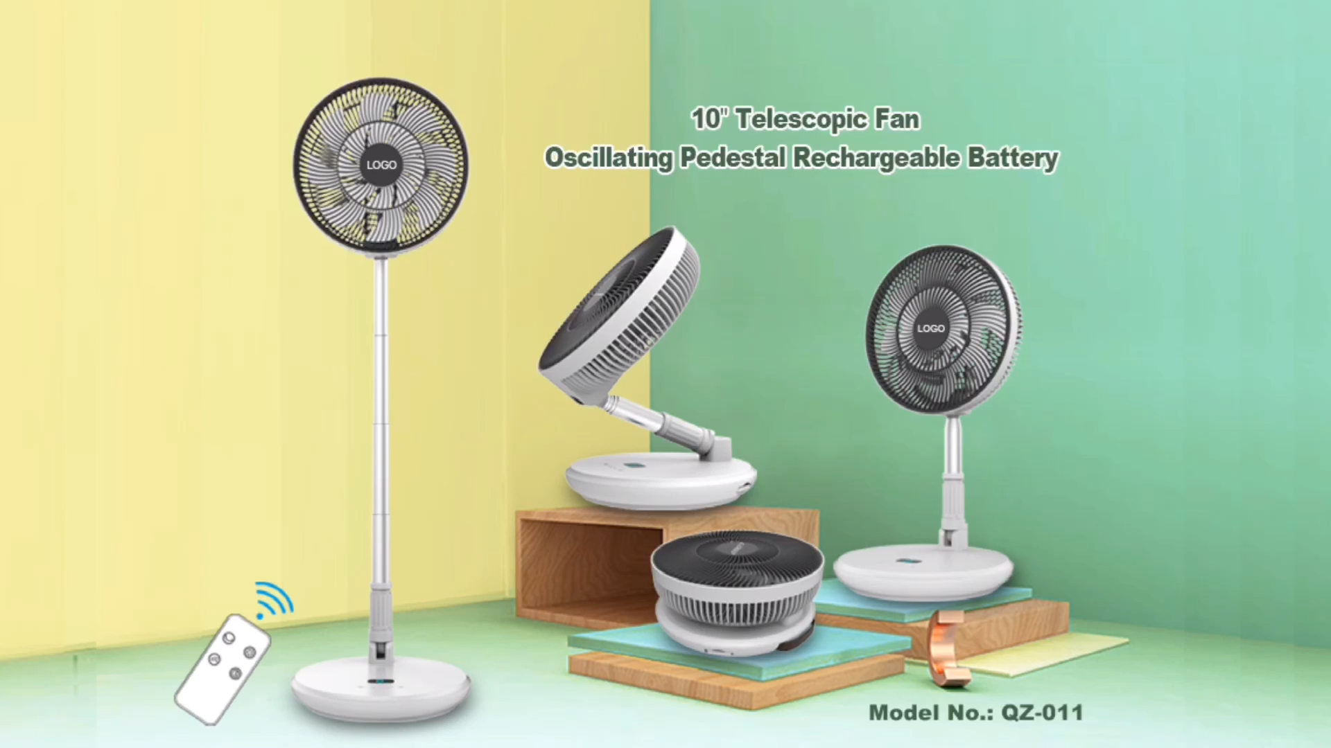 QZ-011 10inches USB charging desktop home mini floor fan telescopic fan rechargeable folding fan home and office and outdoor use