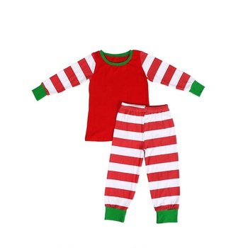 2019New products pajamas red and white stripe kid clothing set baby clothes baby girl clothes