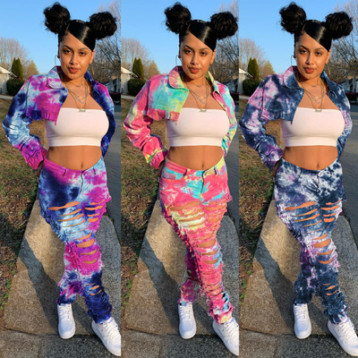 2020 new casual button straight tube tie dye 2 piece set women's casual pants and jacket