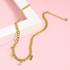 Gold Plated Stainless Steel Necklace High Quality Fashion Jewelry Gold Plated Stainless Steel Love Letter Chain Pendant Necklace P193021