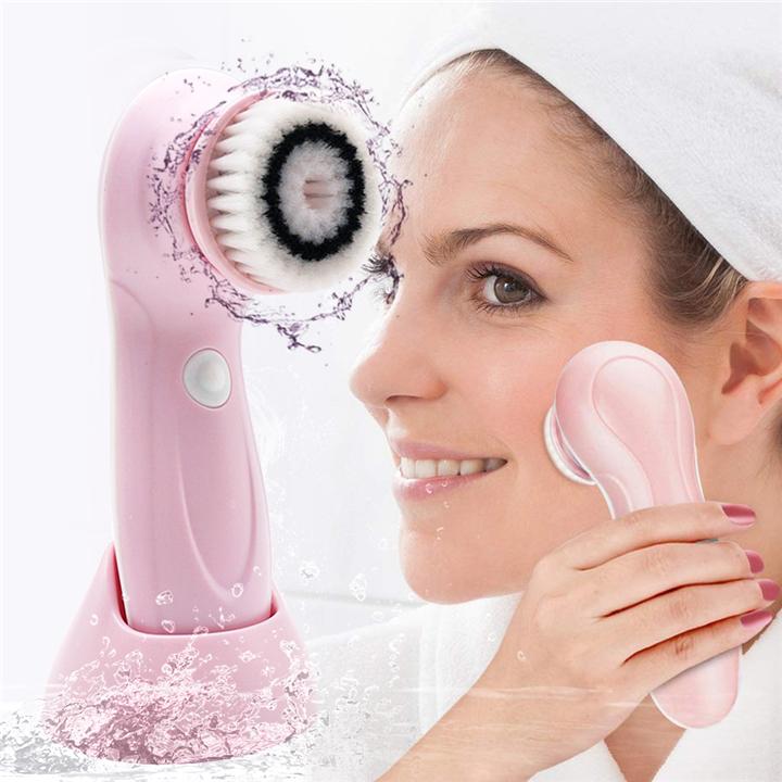 Очищающая щетка для лица, отшелушивающий крем для лица с 2 головками кистей