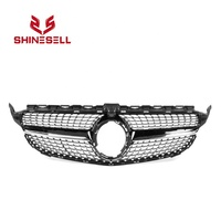 Black Front grill Diamond grille with camera hole for Mercedes Benz W205 C CLASS C200 C250 C300 C350 2018 2019