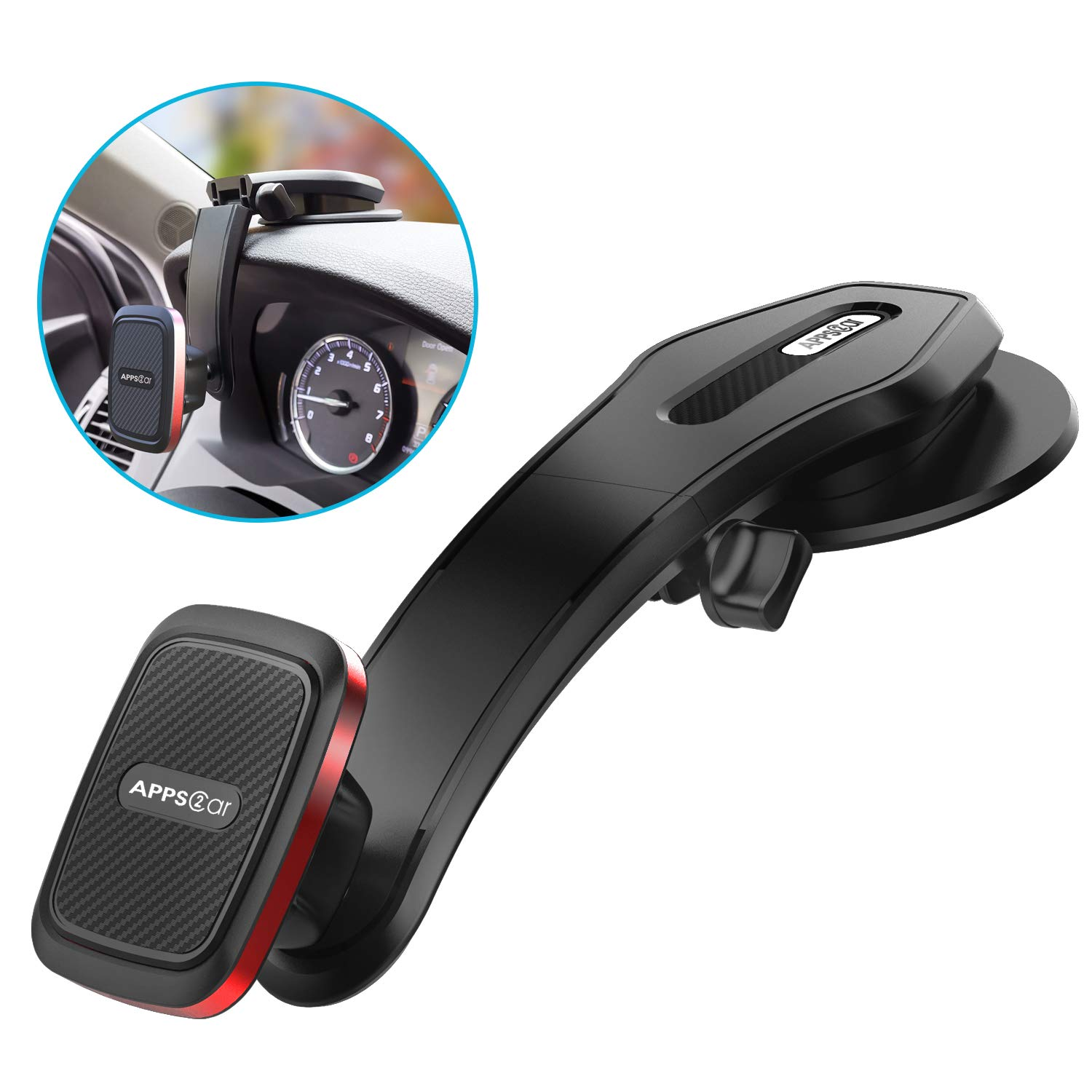 Universal Adjustable 6 Strong Magnets Suction Cup Car Phone Mount Holder Dashboard with Super Sticky