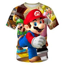 Забавная детская футболка с рисунком Супер Марио и Луиджи Летние повседневные топы для маленьких мальчиков и девочек, футболка детская оде...(Китай)