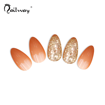 New Design 24pcs Factory Golden Glitter Champagne False Nail ABS Material Press on Artificial Nail