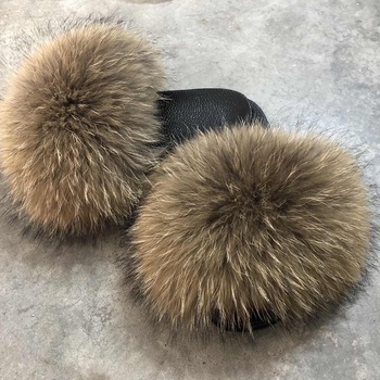 fox/raccoon fur slippers fur fluffy slippers fur slides
