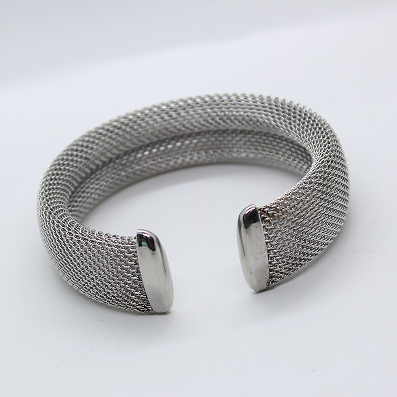 Fashion Personalized Bracelet Stainless Steel Color 17Mm Women Cuff Mesh Stainless Steel Bracelet