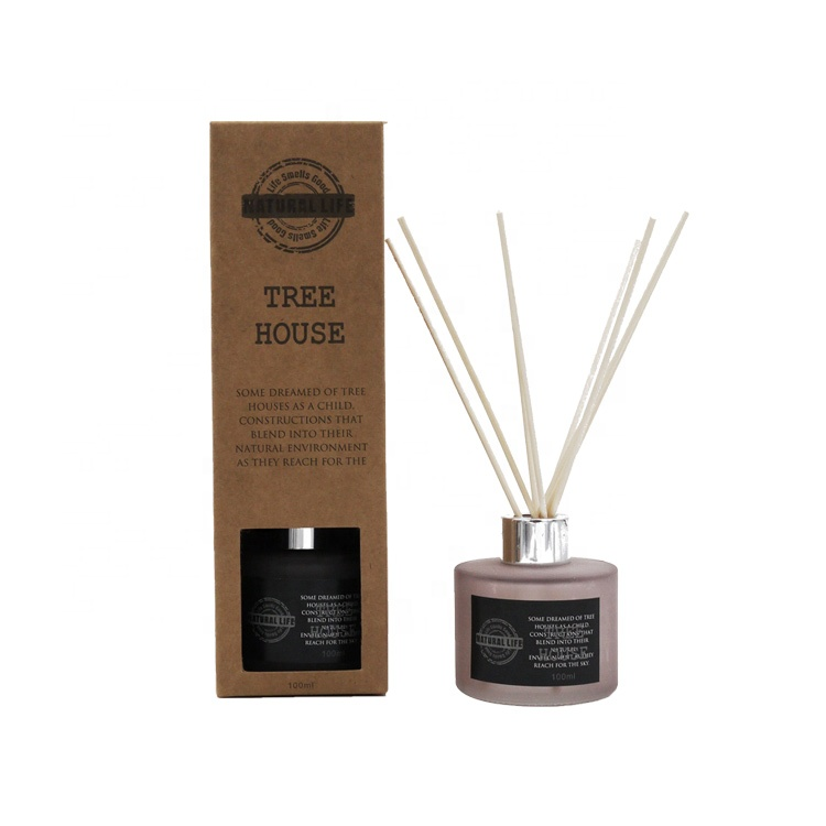 wholesale custom logo natural <strong>home</strong> 100ml grey matt glass <strong>tree</strong> <strong>house</strong> aroma oil diffuser with gift box and rattan sticks